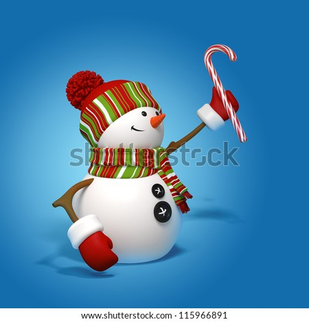 snowman holding candy cane - stock photo