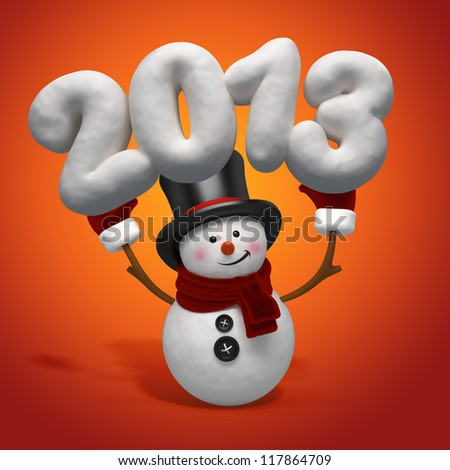 snowman holding number - stock photo
