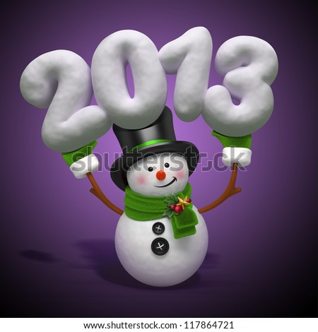 snowman holding year - stock photo