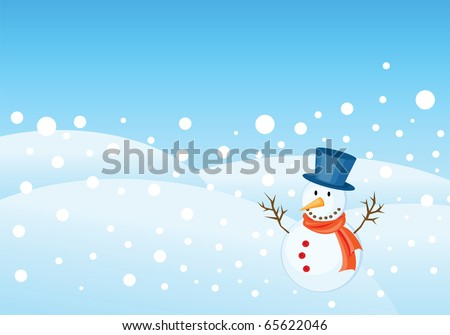 snowman illustrations for christmas greetings card. - stock photo
