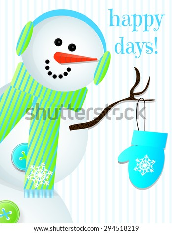 Snowman in Ear Muffs - stock photo