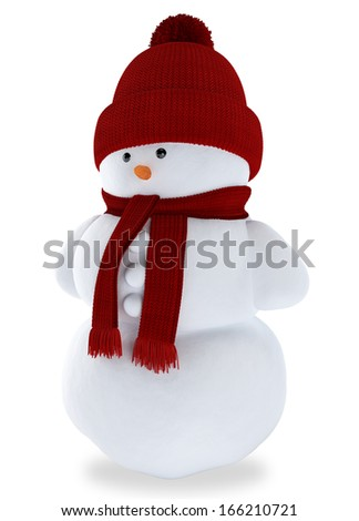 Snowman in hat and scarf isolated on a white background