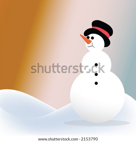snowman in northern lights - stock photo
