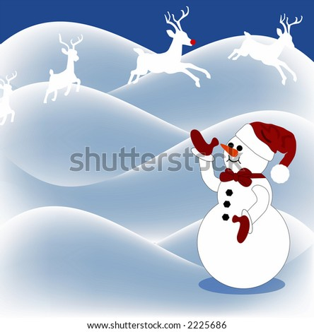 snowman in pasture waving to reindeer overhead (copyspace) - stock photo