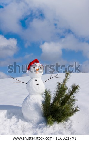 Snowman in santa cap on nature in sunny cold day - stock photo