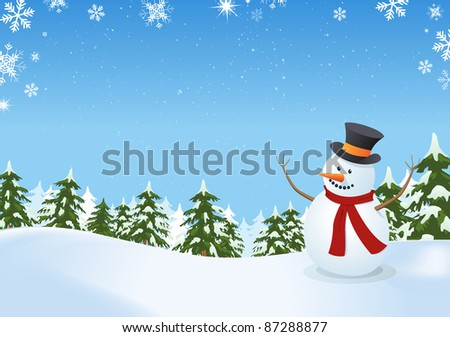 Snowman In Winter Landscape/ Illustration of a snowman inside winter landscape with pine trees, firs and space for  your message - stock photo