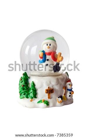 Snowman inside snowglobe over white - stock photo