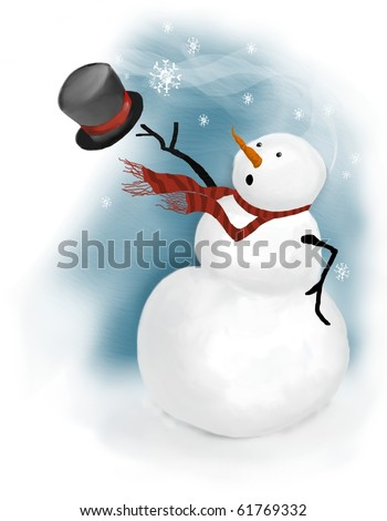 snowman is surprised on a windy day when gust of wind blows his top hat away - stock photo