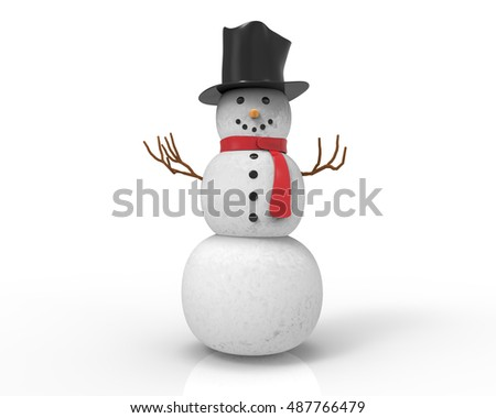Snowman isolated 3d Render