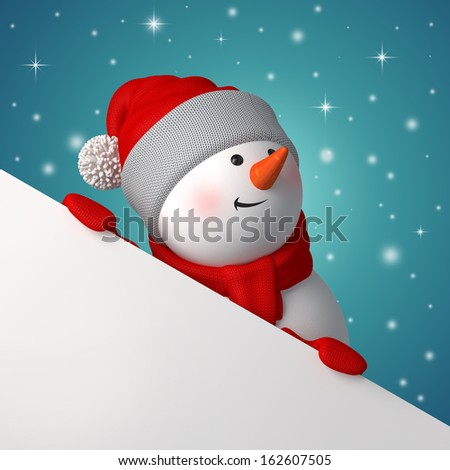 snowman looking up and holding blank page corner, Christmas banner with 3d character - stock photo