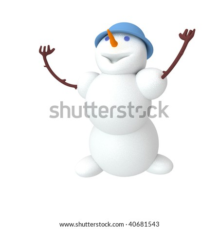 Snowman looking up. Clipping path include - stock photo