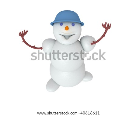 Snowman looking up. Including clipping path - stock photo
