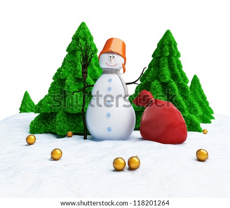 Snowman of Christmas trees on a white background