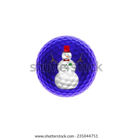 Snowman on a blue golf-ball isolated over white - stock photo