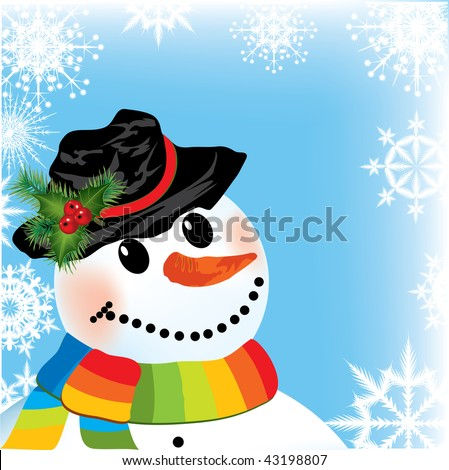 snowman on christmas background with snowflake