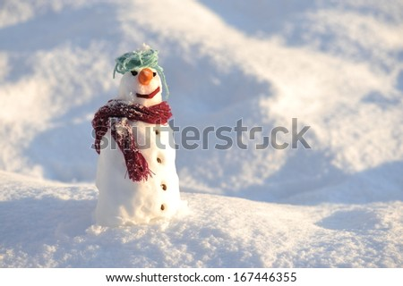 Snowman on snow background - stock photo