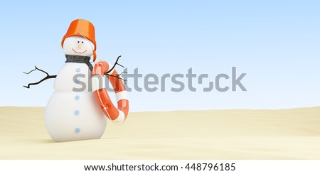Snowman on the beach, 3d Illustrations on a white background - stock photo