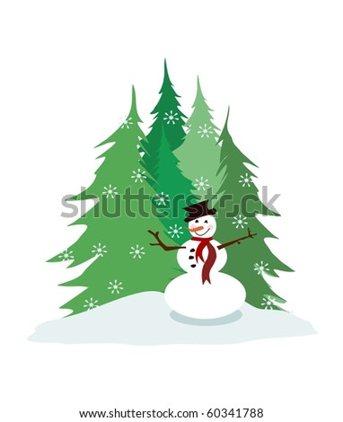 Snowman, pine trees, and falling snow - stock photo