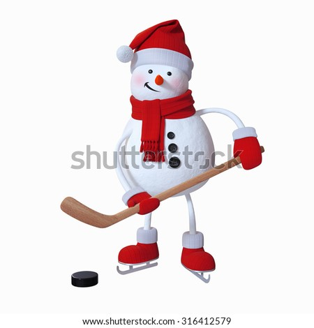 snowman playing ice hockey, winter sports, 3d illustration, isolated clip art - stock photo