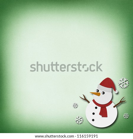 Snowman recycled papercraft on grunge paper background.