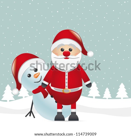 snowman red nose look santa claus - stock photo