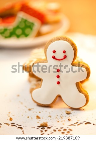 Snowman shaped Christmas cookie - shallow DOF.