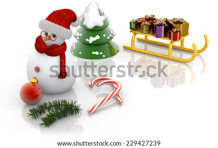 snowman, sled, and fir on white background - stock photo