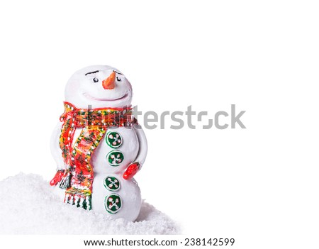 snowman snow Isolated on white background - stock photo