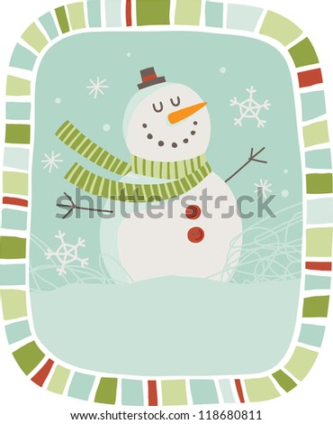 Snowman  This is a image of a vector illustration. Also available in vector file in my portfolio. - stock photo