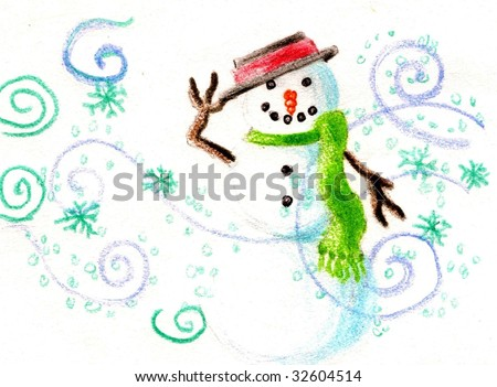 Snowman tipping his had in a colored pencil sketch - stock photo