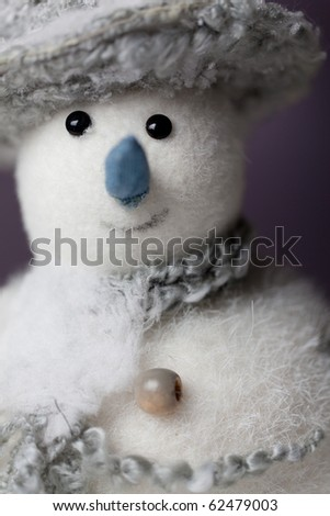 Snowman toy christmas decoration, selective focus - stock photo