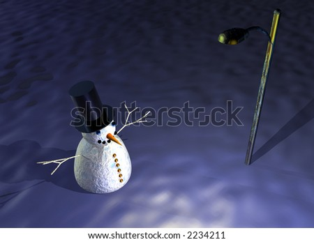 snowman under street lamp - stock photo