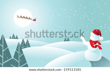 Snowman waving to Santa Claus in soft blue. jpg. - stock photo
