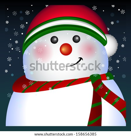 Snowman wearing Santa hat Merry Christmas and Happy New Year