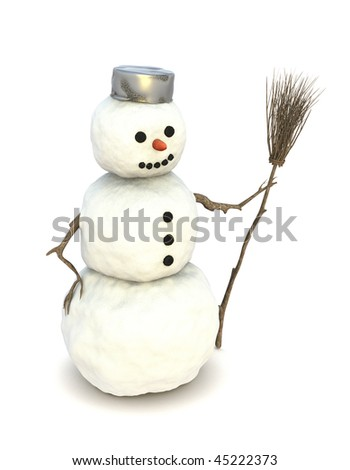 Snowman with a besom in his left hand and a dented pot of metal on his head, in front of a white background. - stock photo