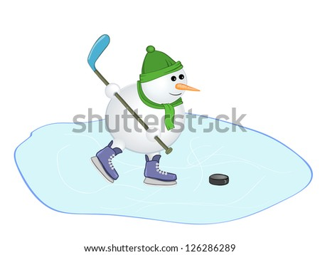 snowman with a hockey stick. Raster illustration.