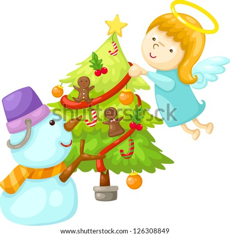 snowman with angel tree christmas . jpg (EPS vector version id 126059306,format also available in my portfolio) - stock photo