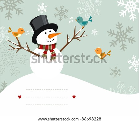 Snowman with birds illustration with blank lines to write on snowy background. Vector file available. - stock photo