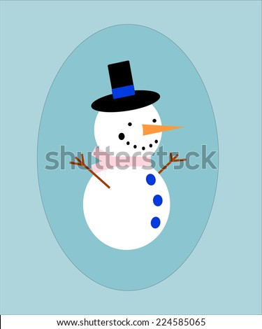 Snowman with black hat and carrot in a blue frame.