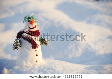 Snowman with copy space - stock photo