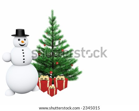 Snowman with gifts and christmas tree - stock photo