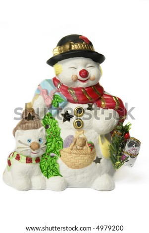 snowman with presents and a kitten - stock photo