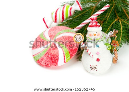 snowman with sweets isolated on white background - stock photo