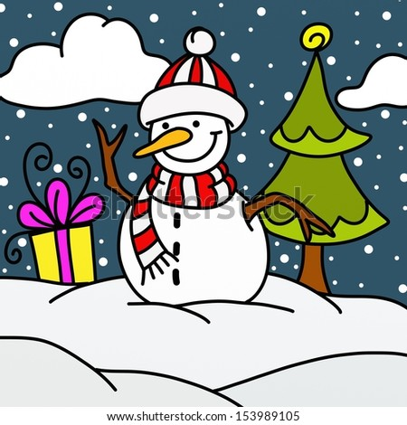 snowman with tree and gifts