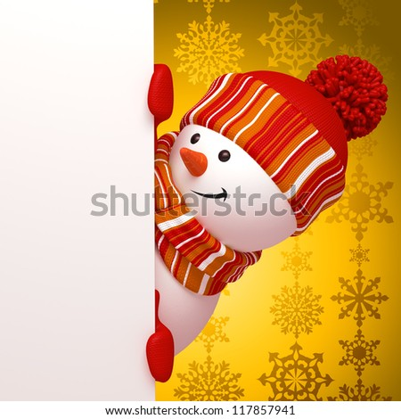 snowman yellow banner - stock photo