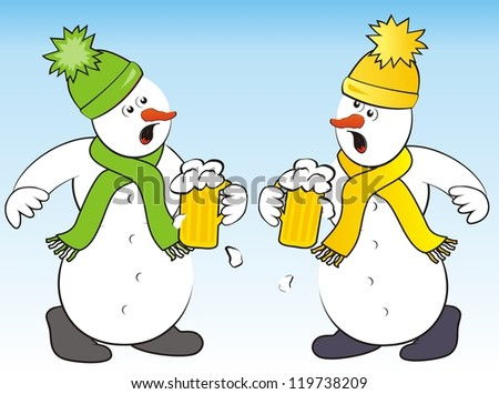 snowmen and beer - stock photo