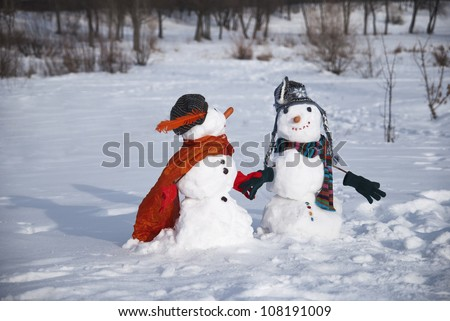 snowmen in love - stock photo
