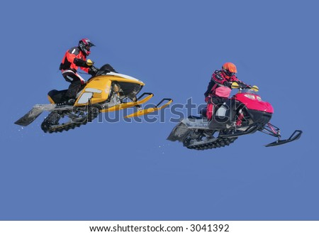 snowmobile action from kirkland lake - stock photo