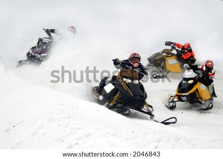 snowmobile action from kirkland lake ontario - stock photo