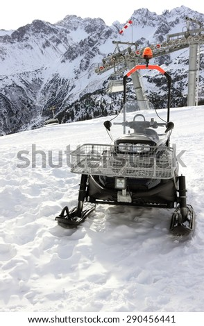 Snowmobile. The Fellhorn Mountain in winter. Alps, Germany.